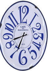 Besp-Oak Oval Blue & White Clock