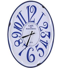 Besp-Oak Oval Blue & White Clock