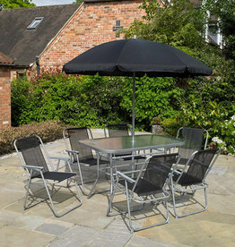 Kingfisher 8 Pc Rectangular Garden Patio Furniture Set