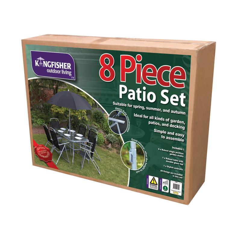 Kingfisher 8 Pc Rectangular Garden Patio Furniture Set