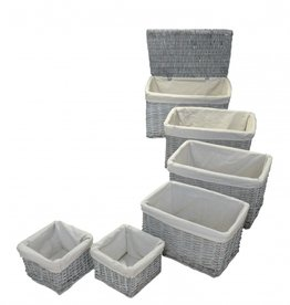 Set of 6 Lined Wicker Baskets