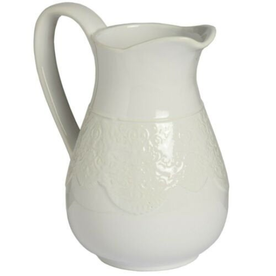Hill Interiors Ceramic Lace Detail Traditional Jug In White or Peach Colour