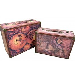 Wooden & Canvas Suitcase - Set of 2