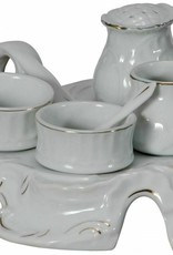 Breakfast Set for 2 - White & Gold Ceramic