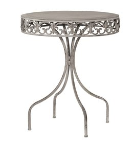 Grey-wash Round Metal Table