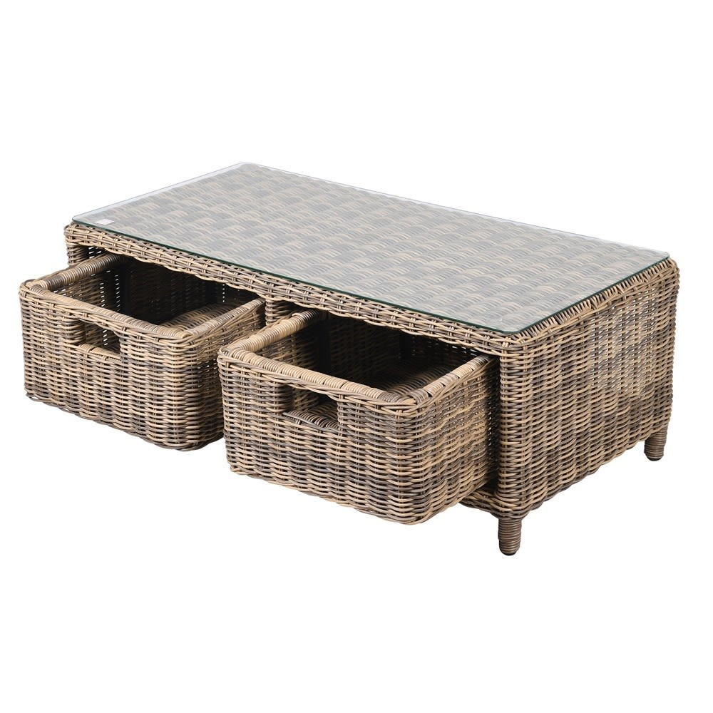 Outdoor Rattan Coffee Table With Drawers