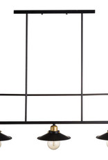 Hill Interiors Triple Hanging Black And Brass Industrial Light