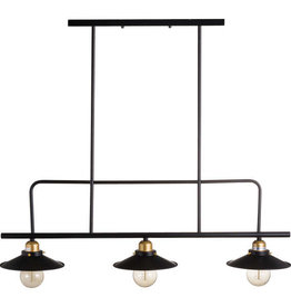 Hill Interiors Triple Hanging Black & Brass Industrial Light
