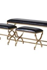 Set of Three Black & Gold Benches
