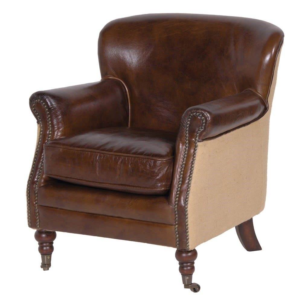 Brown Leather & Linen Armchair