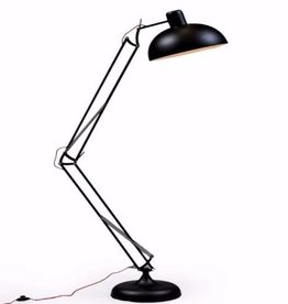 Black Extra Large Classic Desk Style Floor Lamp (Red Fabric Flex)