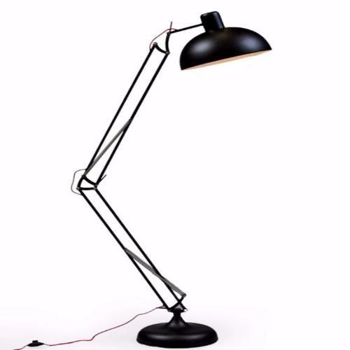 Black Extra Large Classic Desk Style Floor Lamp (Red Fabric Flex)