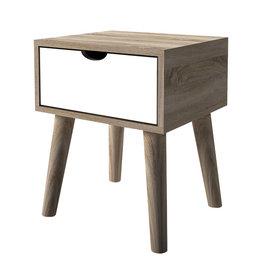 Modern Oak Lamp Table - White