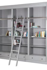 Fayence Library Bookcase with Ladder - Grey