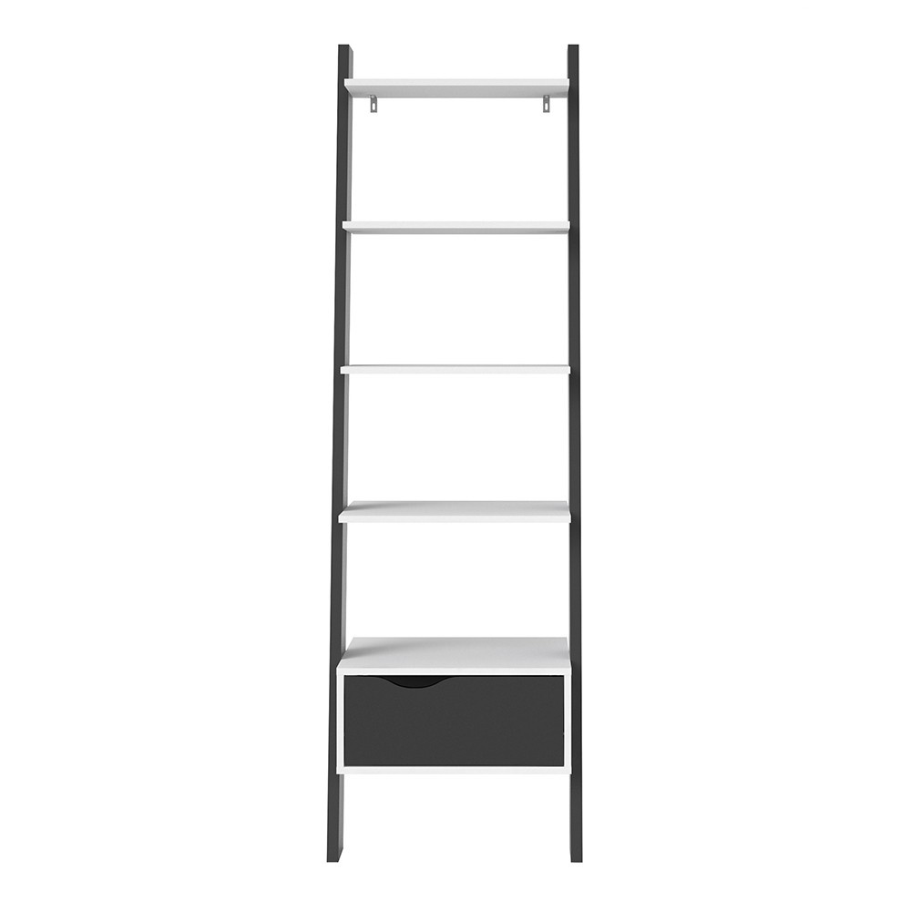 Oslo Ladder Bookcase - White & Black