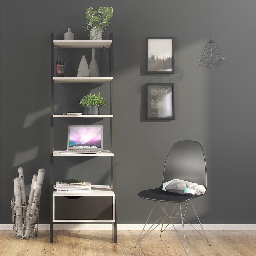 Ladder Bookcase - White & Black