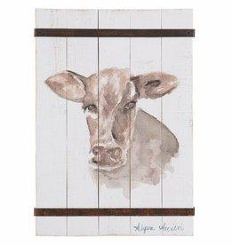 Besp-Oak Wooden Plaque Cow Portrait