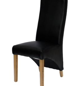 Wave Noir Leather Dining Chair