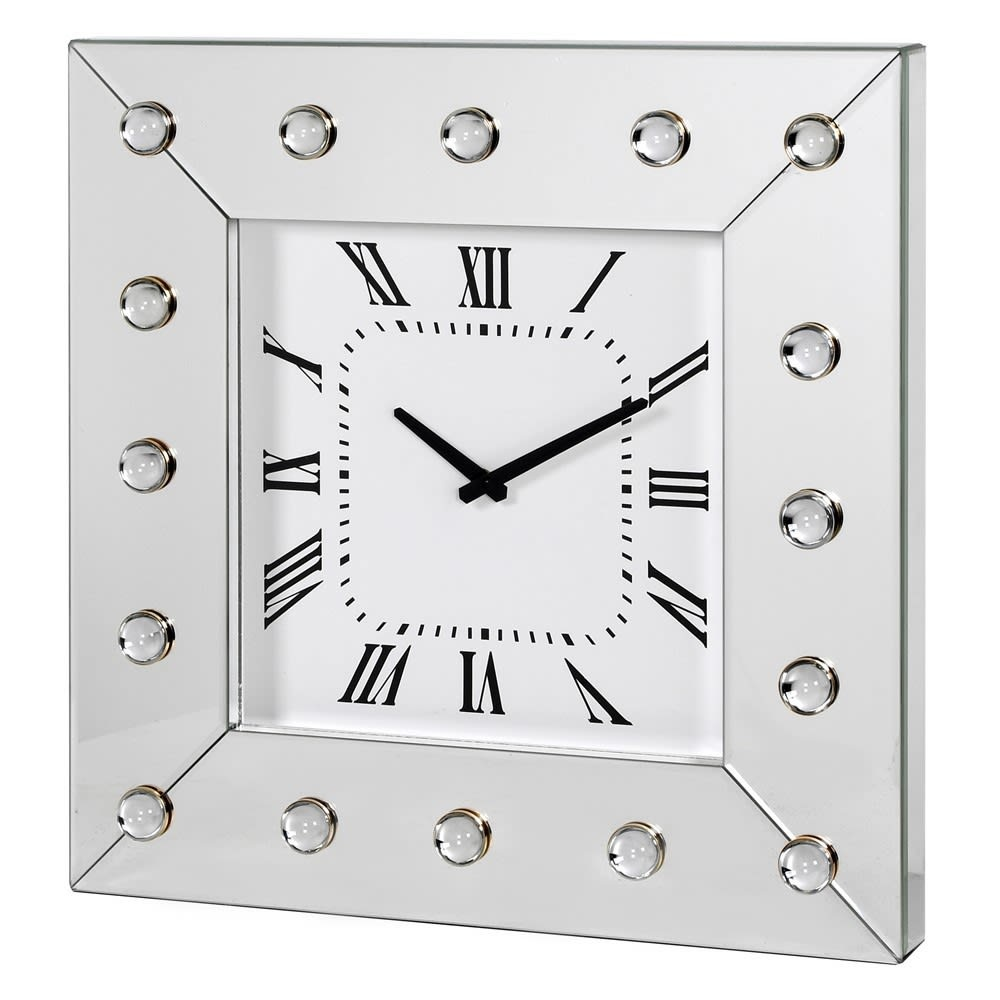 Square Wall Clock with Acrylic Cabochons