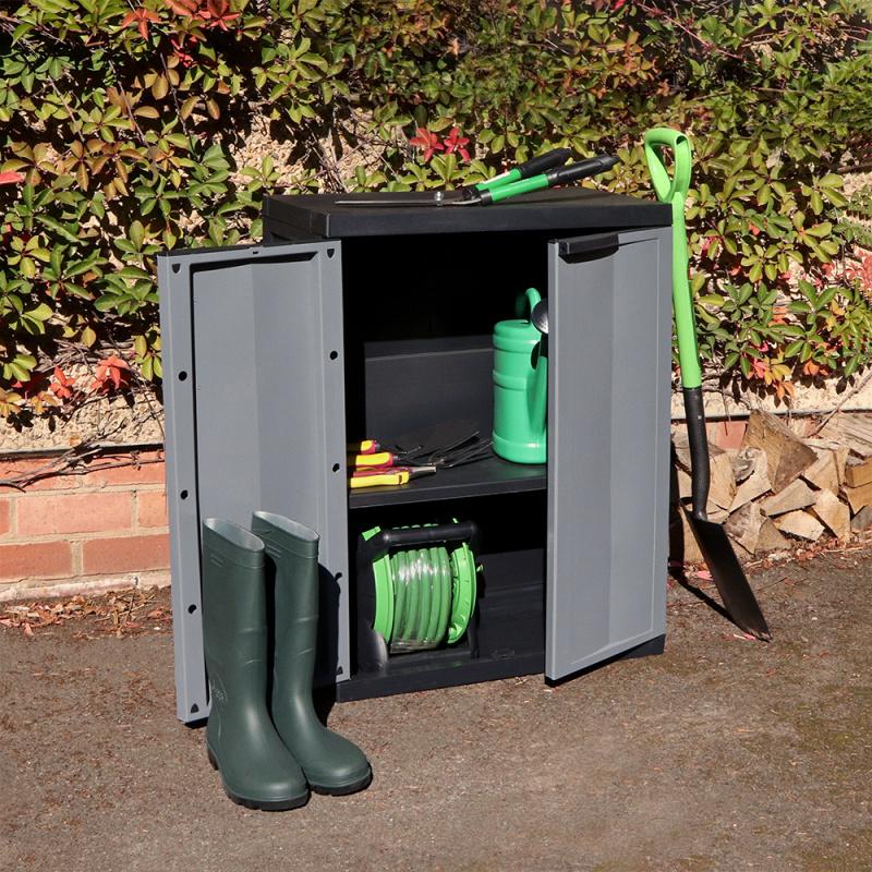 Kingfisher Medium Garden Storage Cabinet Dark Grey