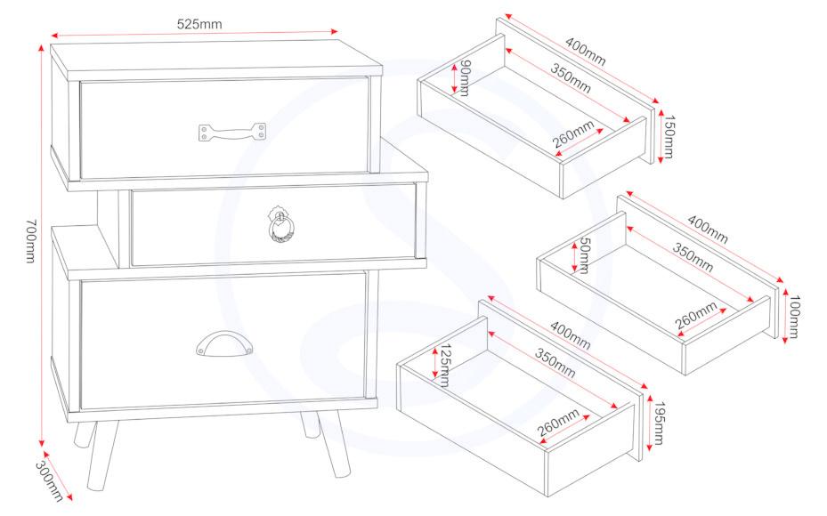 Seconique Nordic 3 Drawer Bedside