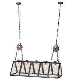Industrial 5 Bulb Metal Frame Ceiling Light
