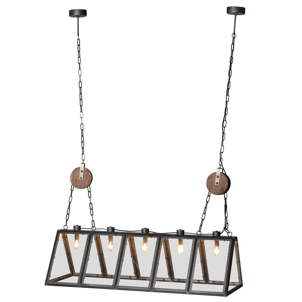 Industrial 5 Bulb Metal Frame Ceiling Light