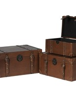 Set of 3 Faux Leather Boxes