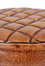 Besp-Oak Leather & Iron Wind Up Stool