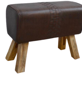 Besp-Oak Brown Leather Pommel Horse Stool