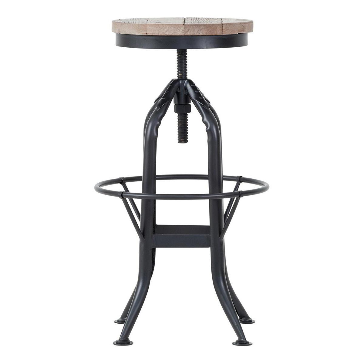 Besp-Oak Reclaimed Wood & Metal Adjustable Height Stool