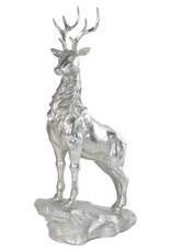 Silver Standing Stag On Stone - 45 cm