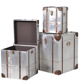 Set of 3 Square Silver Trunks with Straps