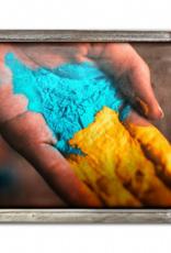 Holi Hand Festival Of Colour Wood Framed Metal Art
