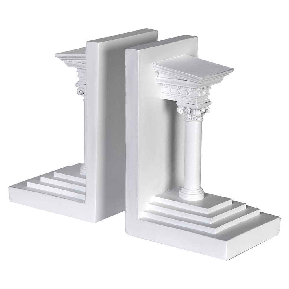 White Roman Column Bookends