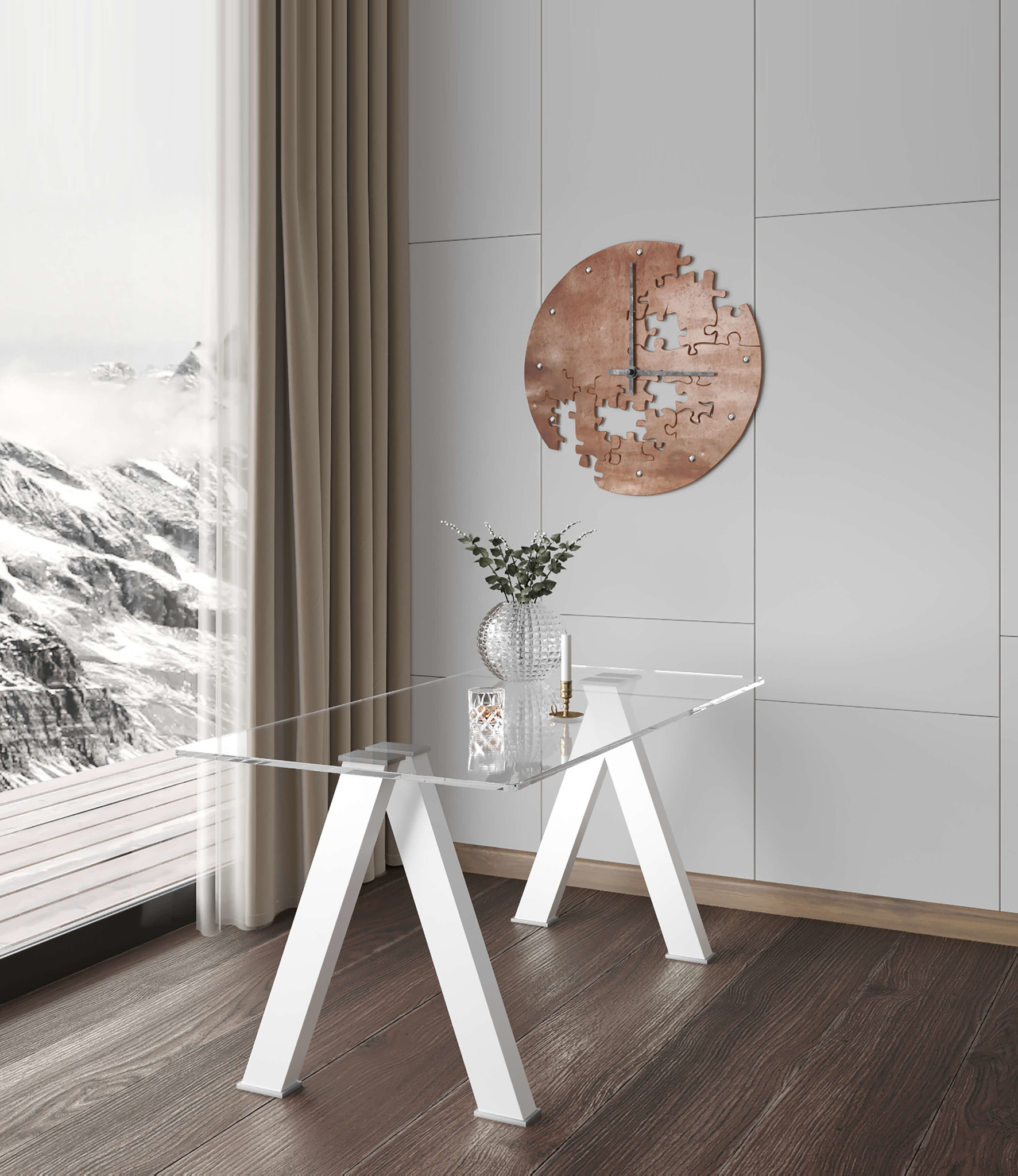 Criss Cross White Gloss Dining Table