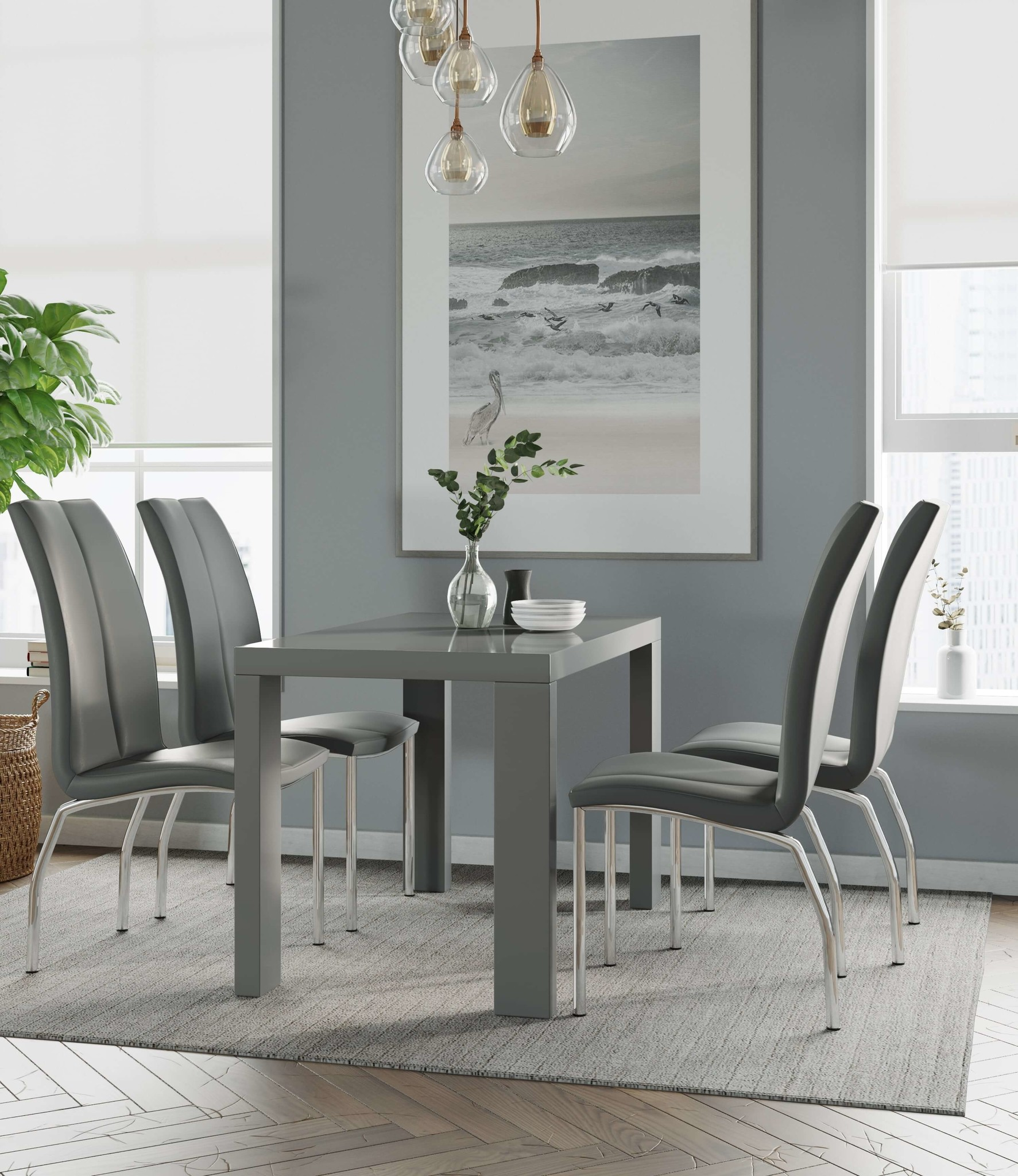 Miami Grey Gloss Dining Table