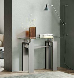 Metro Grey Clear Glass Console Table