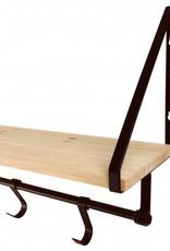 Wooden Shelf With Hooks