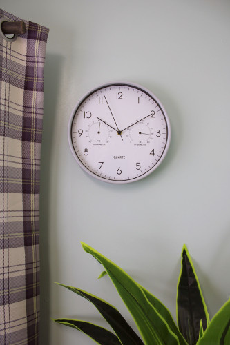 Grey Wall Clock With Thermometer