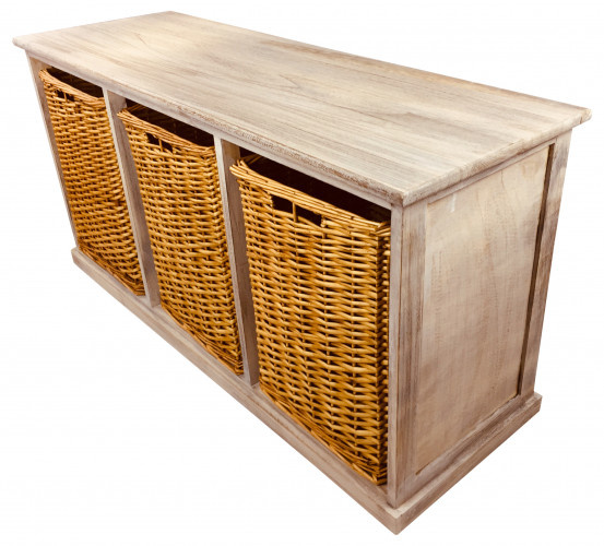 Wooden Bench With 3 Large Baskets