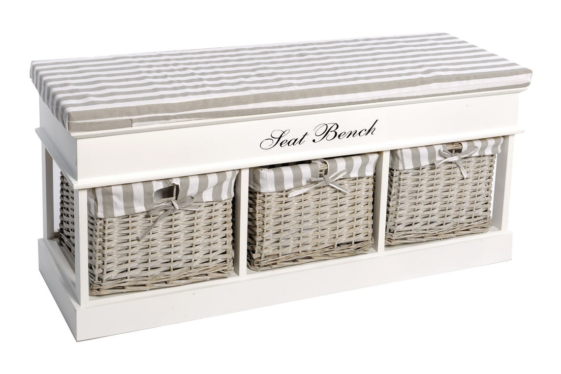 White Seat Bench With Baskets