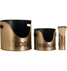 Hill Interiors Log's & Kindling Buckets + Matchstick Holder In Antique Bronze