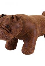Besp-Oak Brown Bulldog Footstool