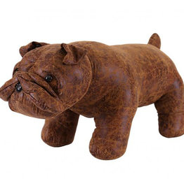 Besp-Oak Brown Bulldog Footstool