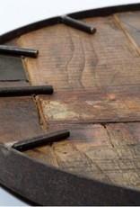 Besp-Oak Teak Wooden Clock with Round Iron Frame