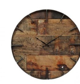 Besp-Oak Teak Wooden Clock with Round Iron Frame