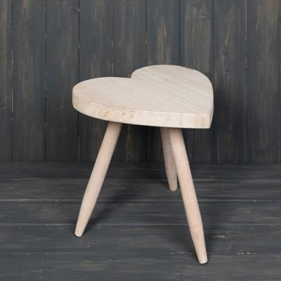 Whitewashed Heart Table 30 cm
