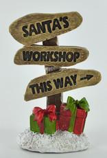 Santa's Work Shop This Way Miniature Garden Sign