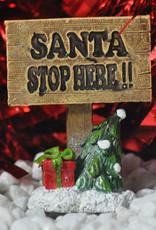 Santa Stop Here Miniature Garden Sign